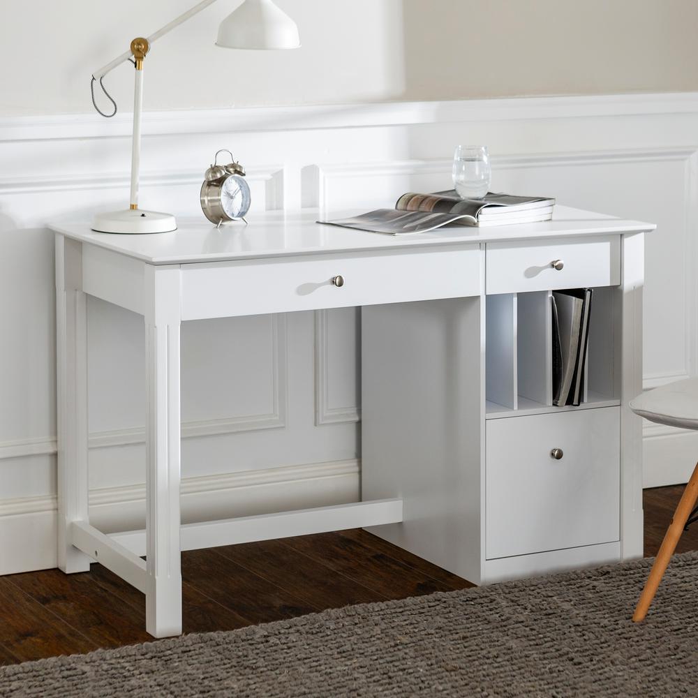 Clara White Desk with Storage