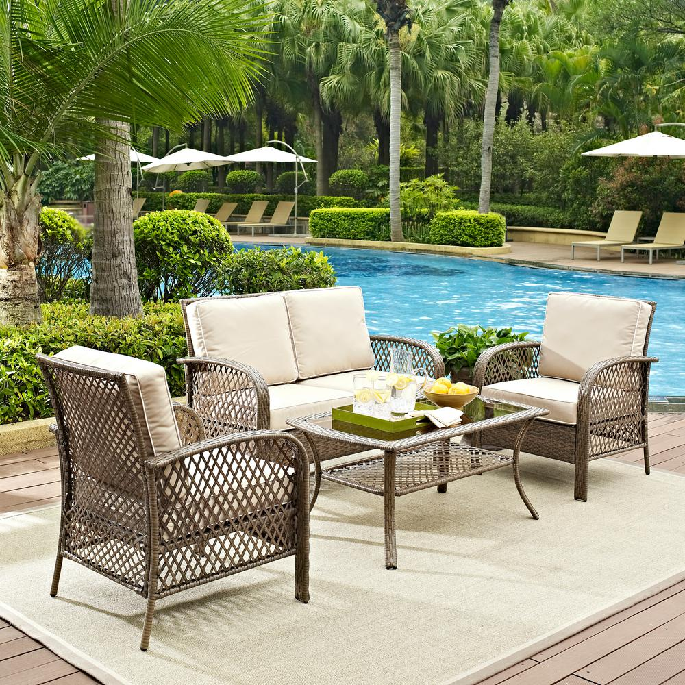 Crosley Tribeca 4-Piece Wicker Outdoor Patio Seating Set with Sand Cushions