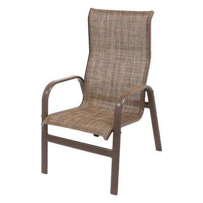 Marco Island Brownstone Commercial Grade Aluminum Patio Dining Chair with Chesterfield Sling (2-Pack)