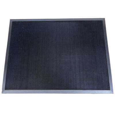 Fingertip Black 24 in. x 32 in. Rubber Door Mat