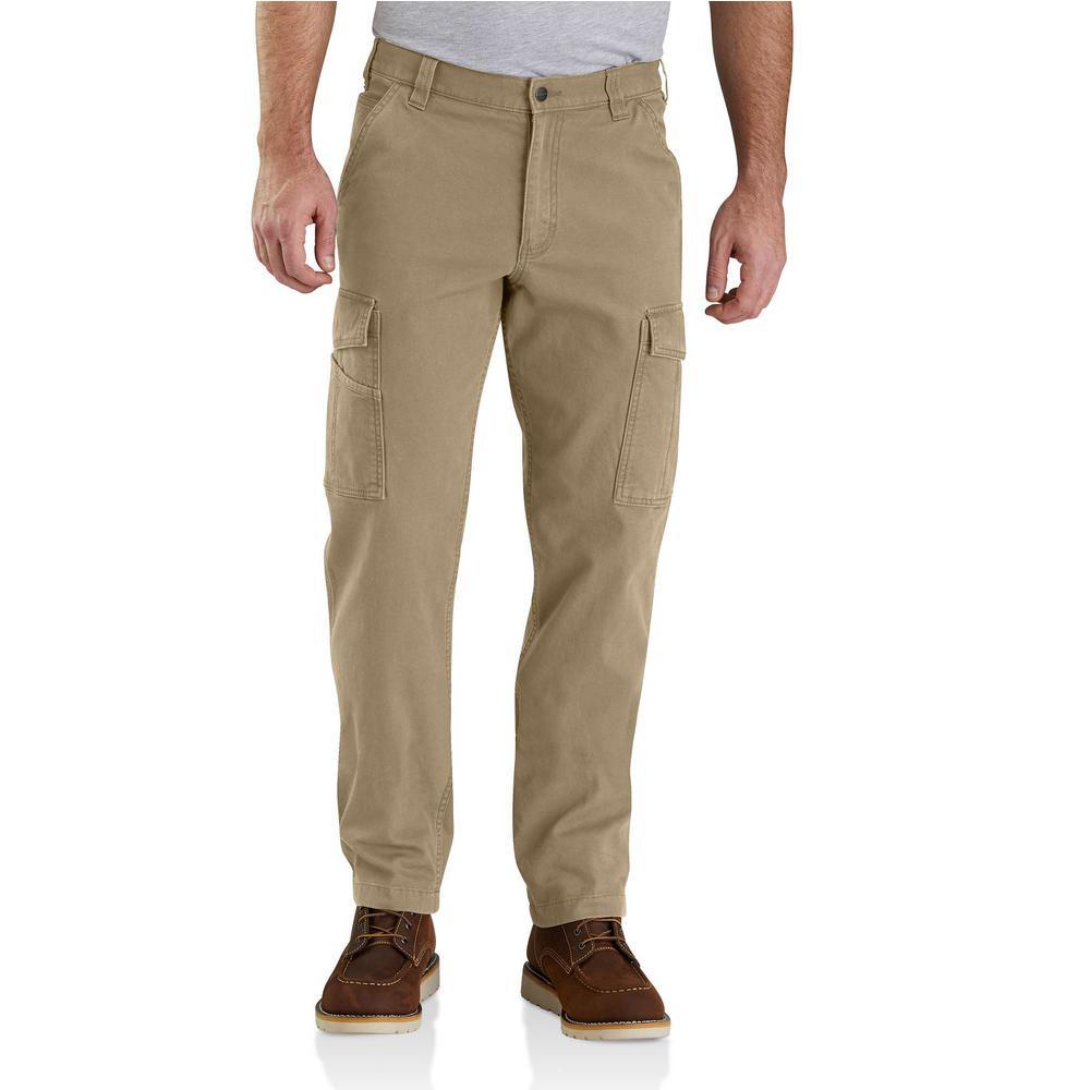 Men's 44 in. x 30 in. Dark Khaki Cotton/Polyester Rugged Flex Rigby Cargo Pant