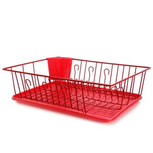 17.5 in. Red Countertop Dish Rack
