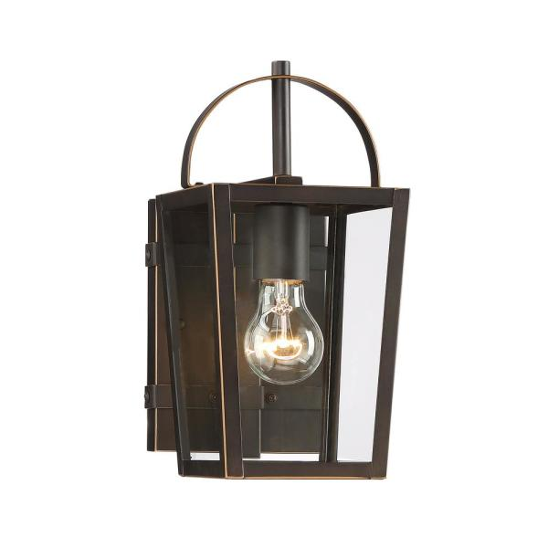 Rangeline Small 1-Light Oil Rubbed Bronze with Gold Highlights Outdoor Wall Mount Lantern