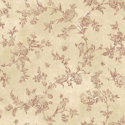 French Nightingale Dark Red Toile Wallpaper Sample