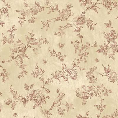 French Nightingale Dark Red Toile Wallpaper