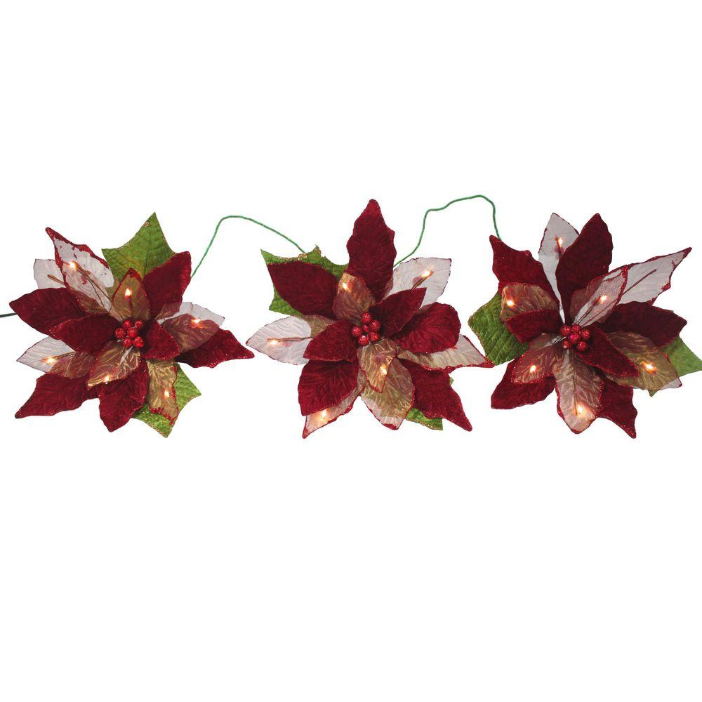 null 18-Light Battery Operated LED Red 3-Poinsettia Flower Garland
