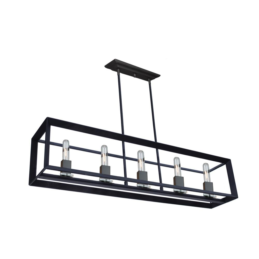 ARTCRAFT Vineyard 5-Light Matte Black Island Light The Vineyard collection features a simple and sophisticated design with square tubing and glass bobech. Comes in a matte black finish.