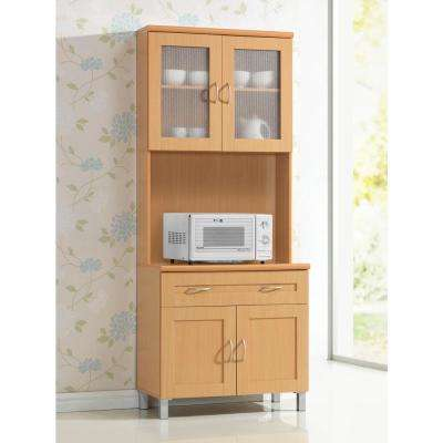 China Beech Cabinet with Microwave Shelf