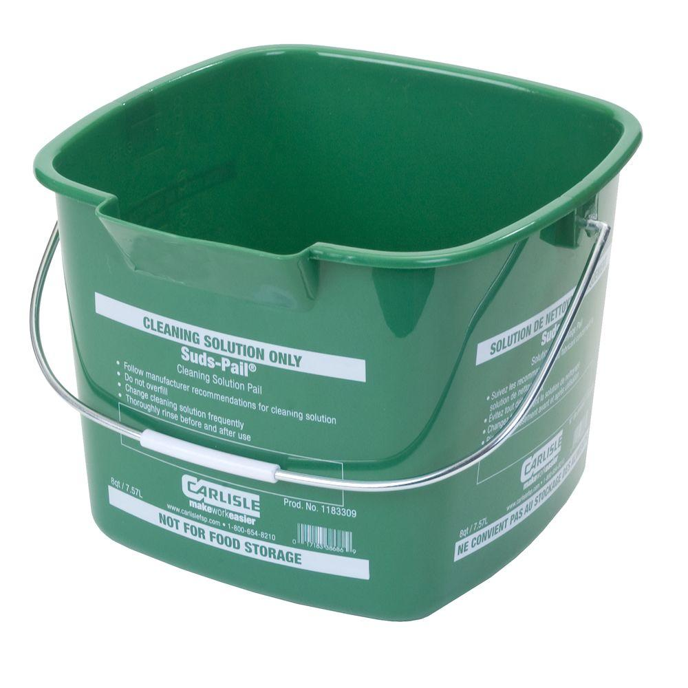 Carlisle 8 Qt. Green Suds-Pail for Cleaning Solutions (12-Case)
