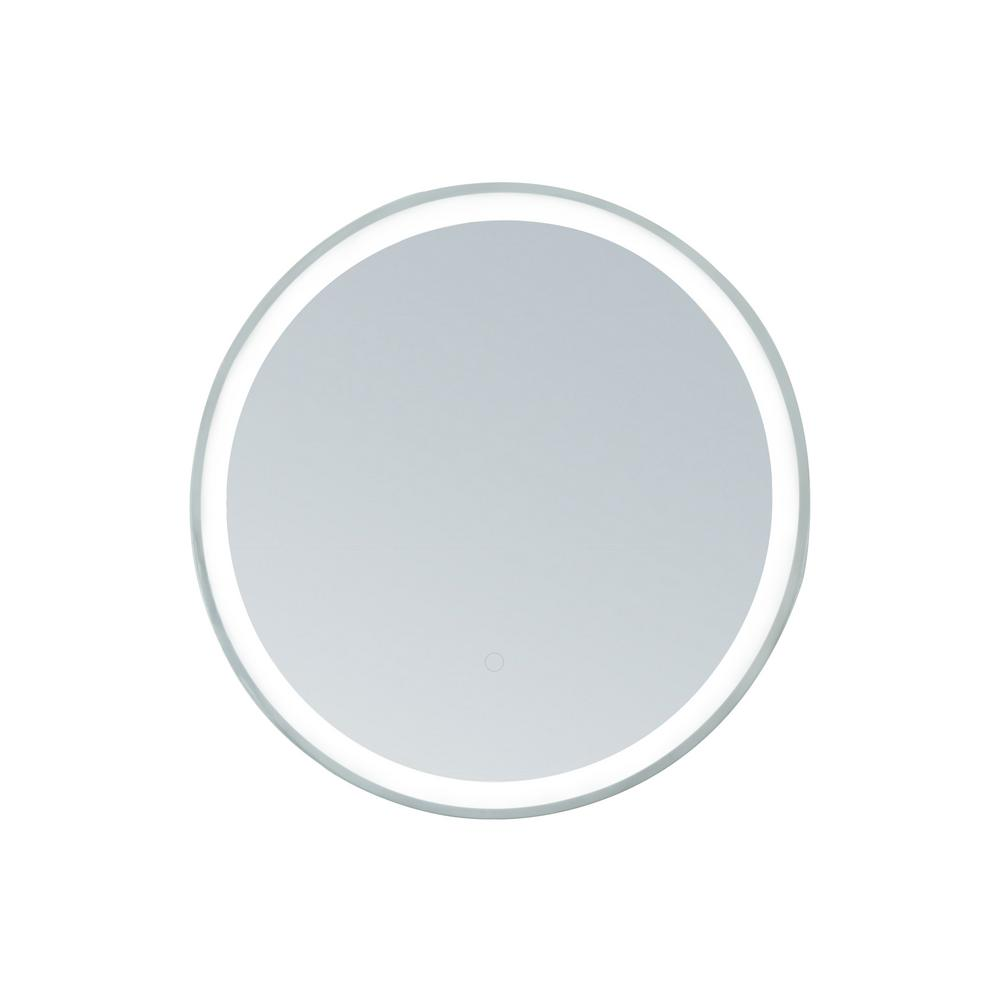 innociusa 36 in  Dia Framed Round LED Mirror with Warm and Cool Color  Temperature, Smart Touch Control in Stainless-Steel
