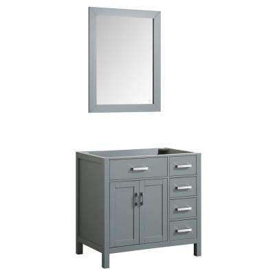 Hampton 36 in. Bath Vanity Cabinet Only with Mirror in Grey