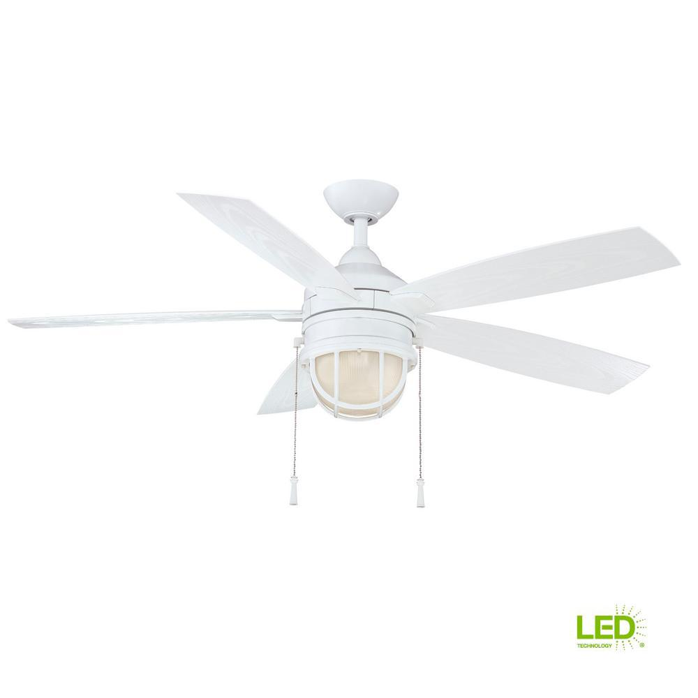 White Indoor Outdoor Ceiling Fan 52 In