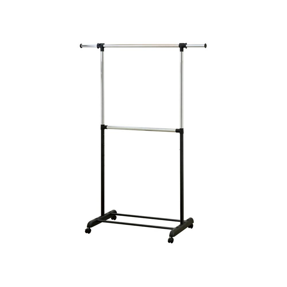 Mind Reader 67 in. x 74 in. Black with Silver Metal 2-Tier Garment Rack If you are running out of storage space in your bedroom or laundry room, this 2-Rod garment rack is the perfect solution. The double rod rack allows for the storage of smaller garments such as pants, shirts, sweaters. It also features adjustable rods to hang longer items such as dresses and coats. The smooth wheels make the rack easy to transport from room to room. Color: Silver.