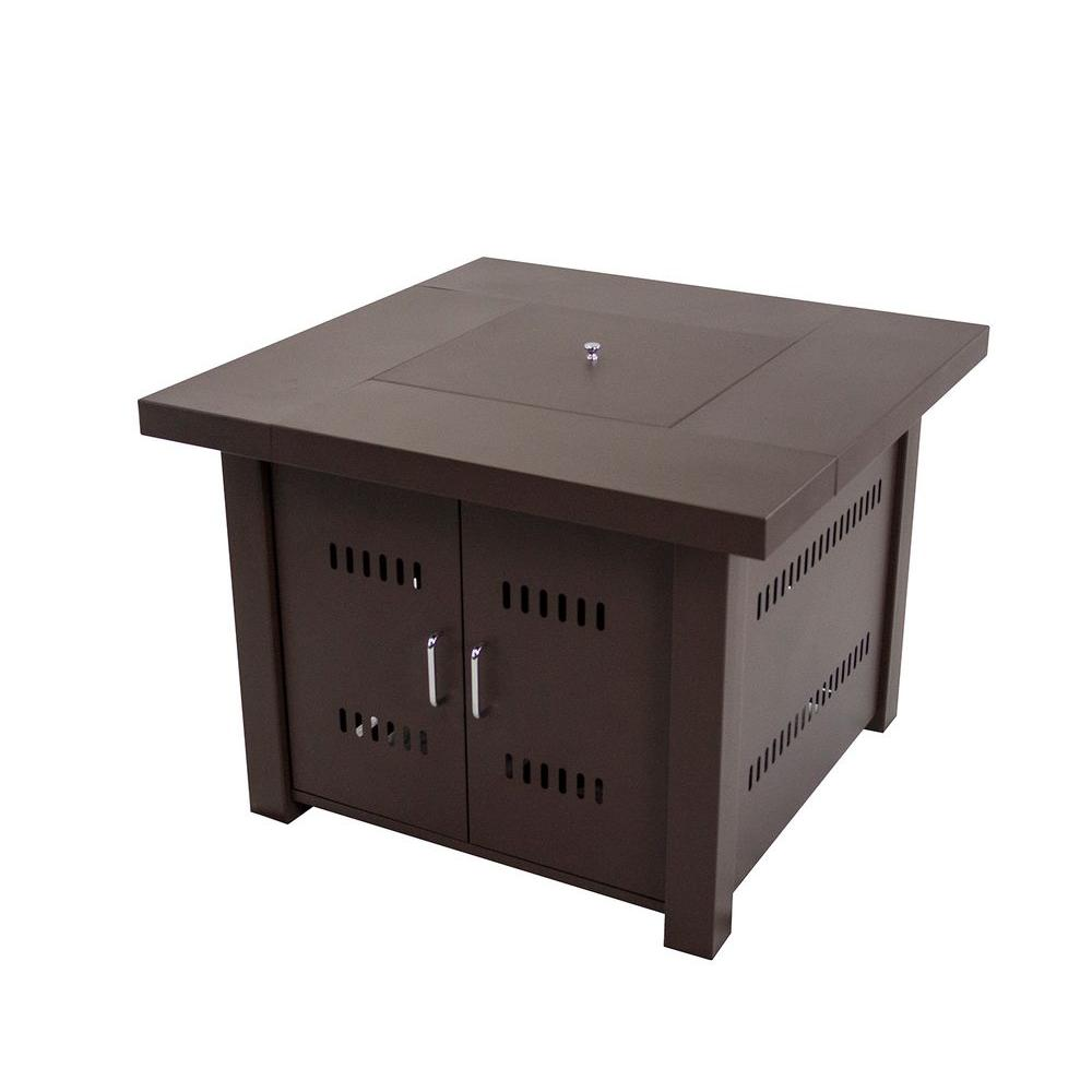 Square Gas Fire Pit Table In Mocha