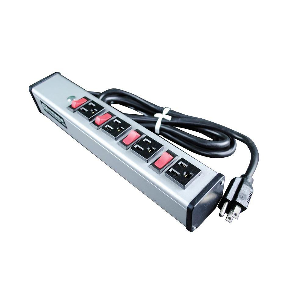 4-Outlet 15-Amp Deluxe Control Power Strip with Lighted On/Off Switch, 6