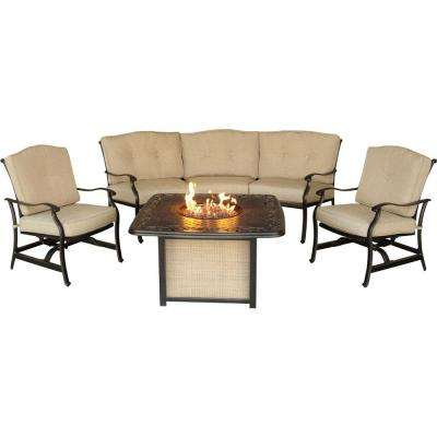 Traditions 4-Piece Patio Fire Pit Lounge Set with Cast-Top Fire Pit and Natural Oat Cushions
