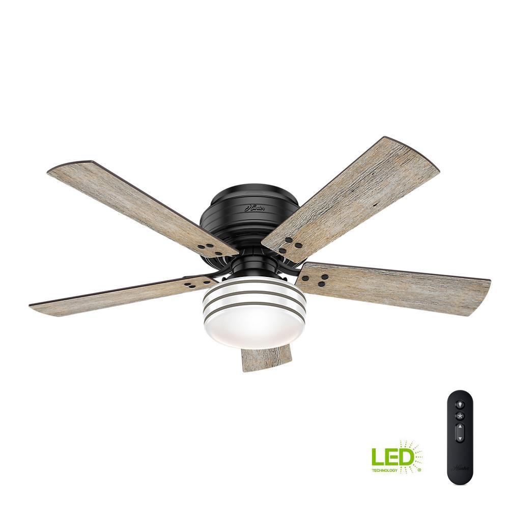 Indoor Outdoor Matte Black Low Profile Ceiling Fan With