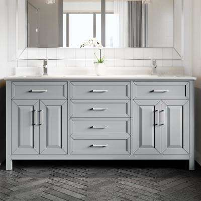 Terrence 72 in. W x 22 in. D Bath Vanity in Gray ENGRD Stone Vanity Top in White with White Basin Power Bar-Organizer