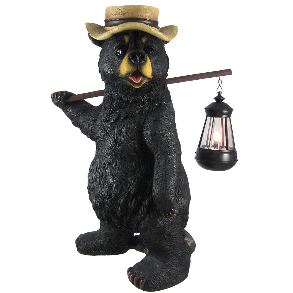 Funny Country Bear Lantern Garden Statue Outdoor Figure