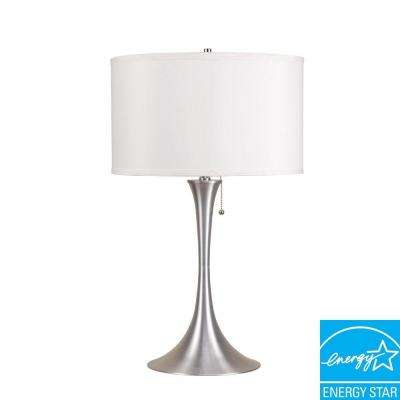 27.5 in. Retro Brush White/Silver Table Lamp