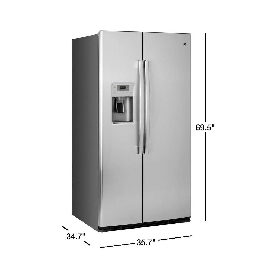Ge 25 3 Cu Ft Side By Side Refrigerator In Stainless Steel Energy Star Gse25hshss The Home Depot
