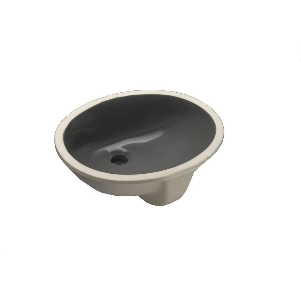 Caxton Vitreous China Undermount Bathroom Sink in Thunder Gray with Overflow