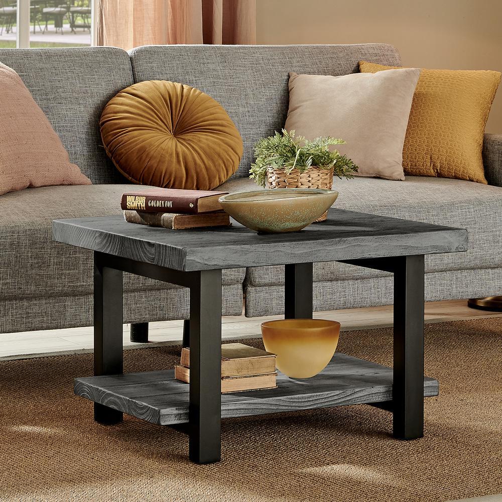Alaterre Furniture Pomona 27 In Slate Gray Black Medium Square Wood Coffee Table With Shelf Amba13sg The Home Depot