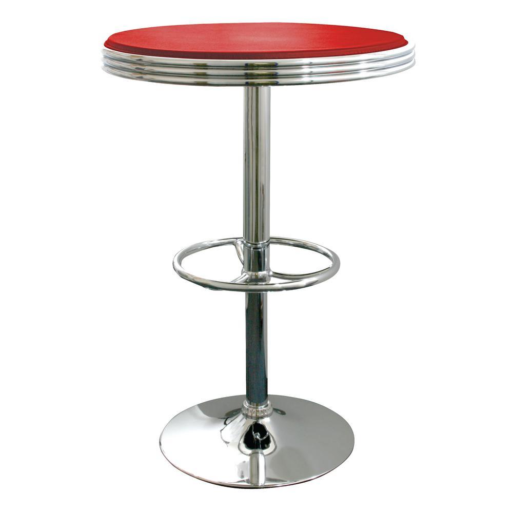 Red Adjustable Swivel Pub/Bar Table