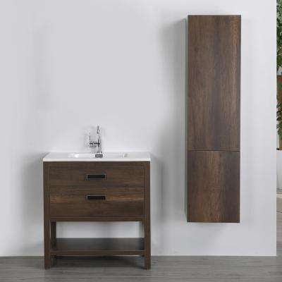31.5 in. W x 32.3 in. H Bath Vanity in Brown with Resin Vanity Top in White with White Basin