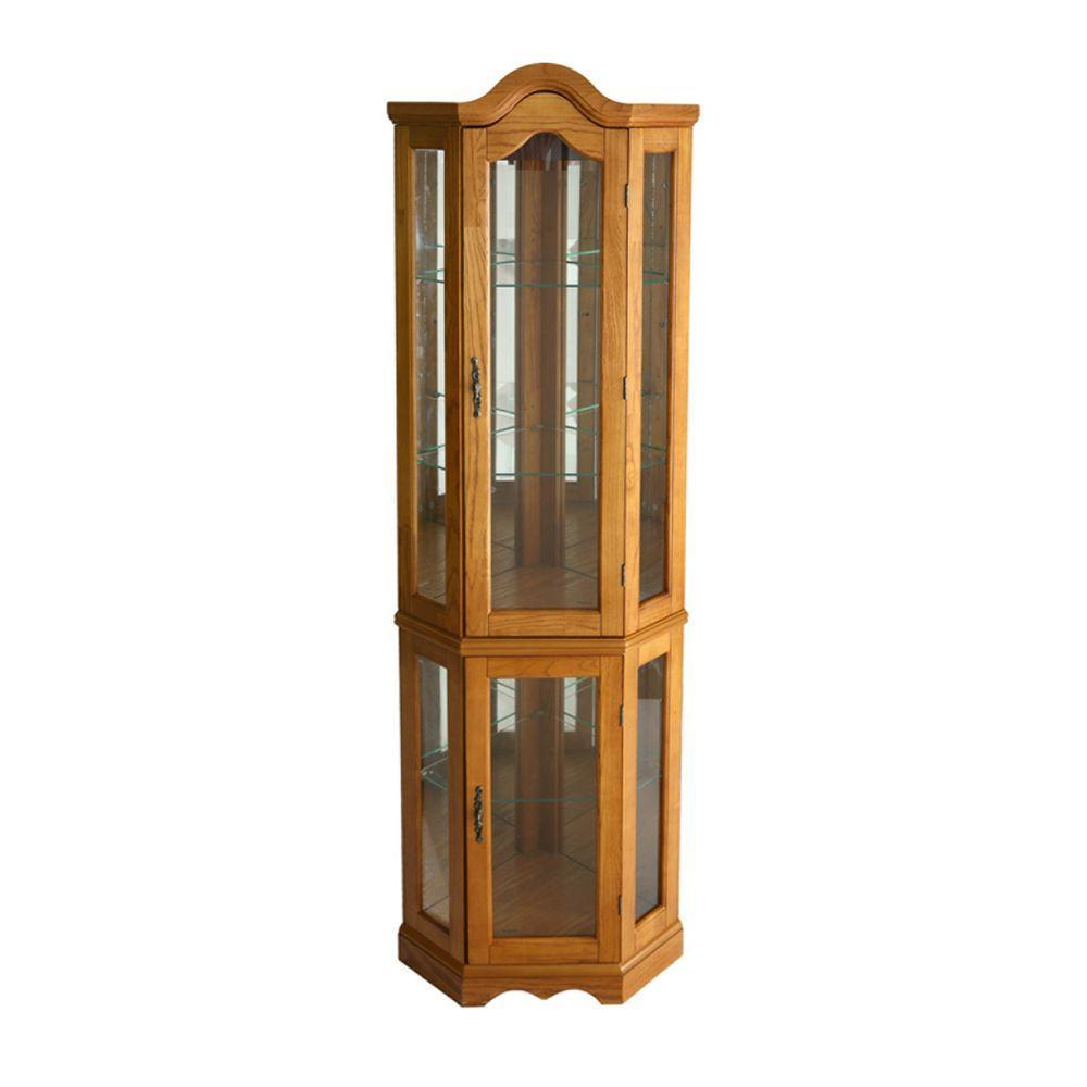 Southern Enterprises Priscilla Golden Oak Gl Door Curio Cabinet
