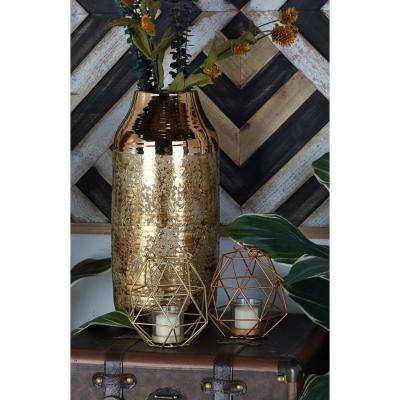 Copper and Gold Geometric Cage Candle Lanterns (Set of 2)