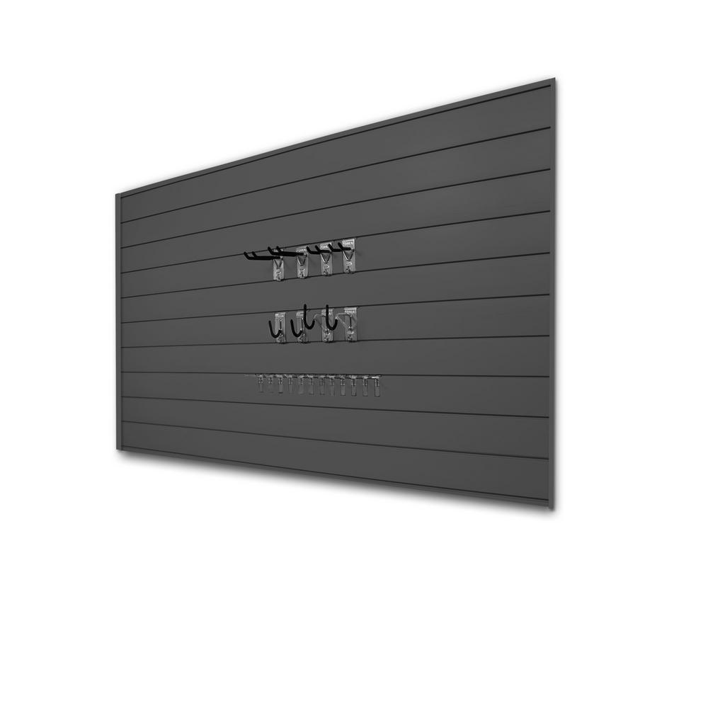 PVC Slatwall 8 ft. x 4 ft. Charcoal Hook Kit Bundle (30-Piece)