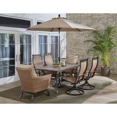 Monaco 7-Piece Aluminum Outdoor Dining Set with Tan Cushions (2-Armchairs, 4-Rockers, Table, Umbrella)