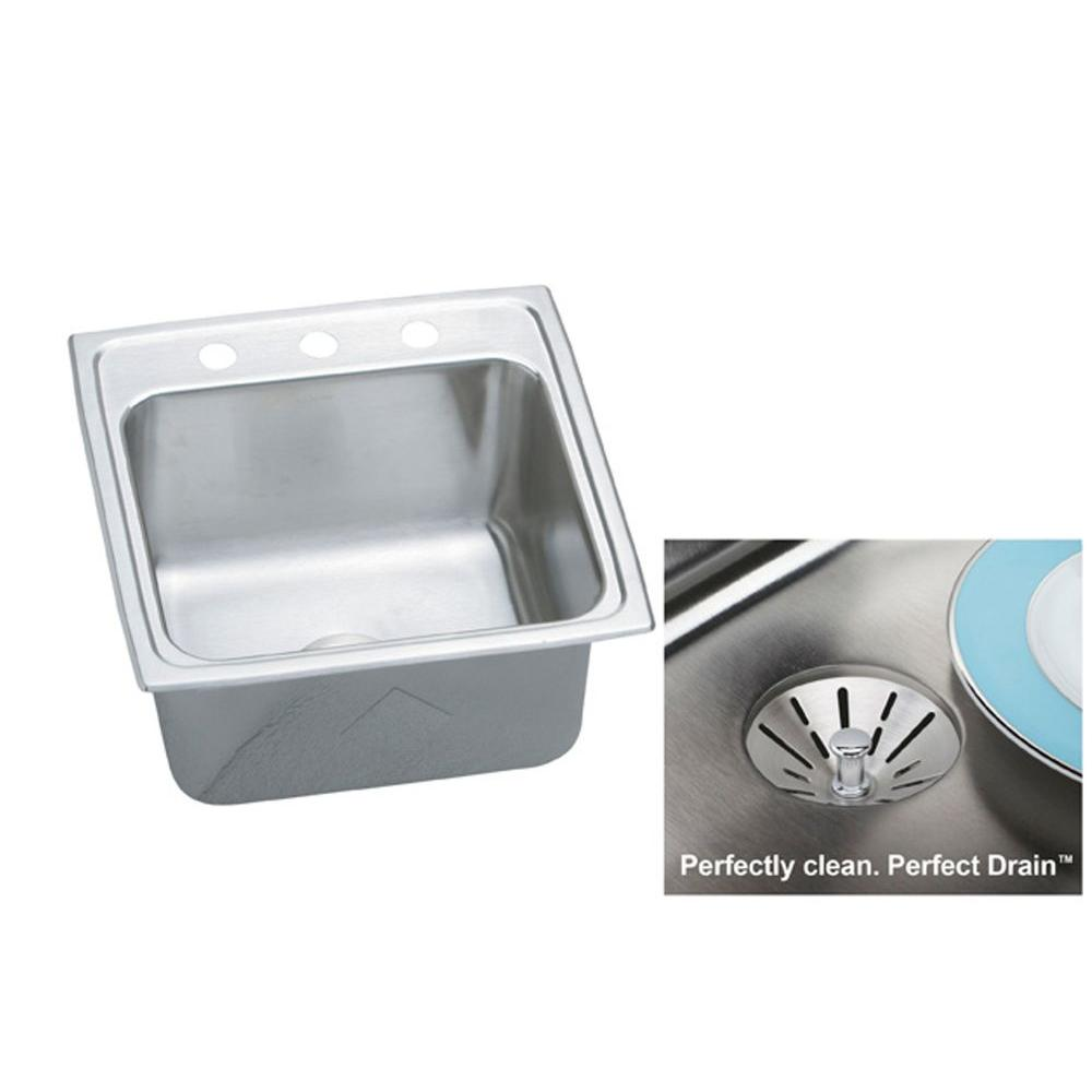 Elkay Gourmet Undermount Stainless Steel 19.5 in. 3-Hole Single Bowl Kitchen Sink with Perfect Drain