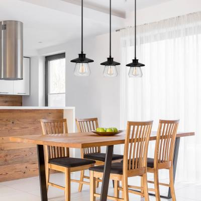 Nate 1-Light Oil Rubbed Bronze Pendant With Clear Glass Shade