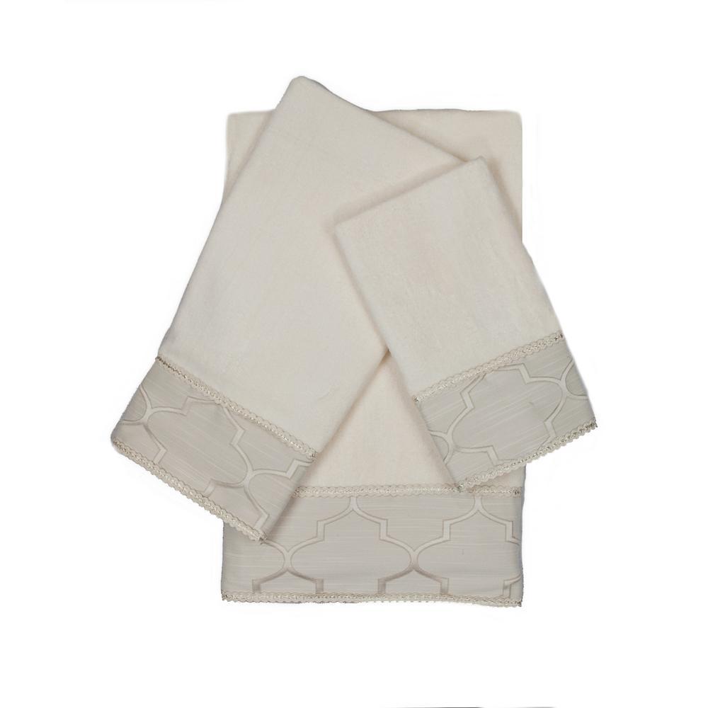 Stanton Gimp Ecru Decorative Embellished Towel Set (3-Piece)