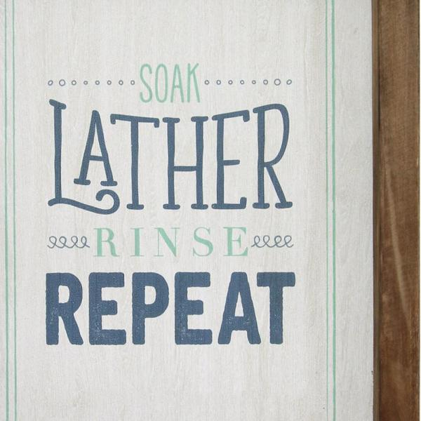 Homeroots Josephine Multi Color Soap Lather Rinse Repeat Framed Wall Art 321212 The Home Depot