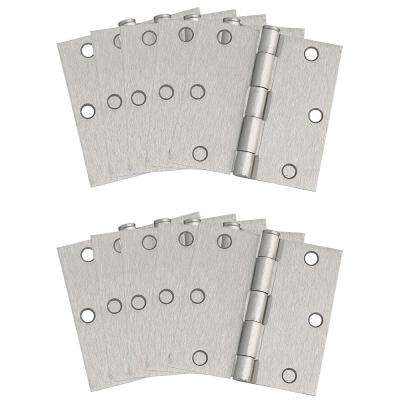 3-1/2 in. Square Corner Satin Nickel Door Hinge Value Pack (10 per Pack)