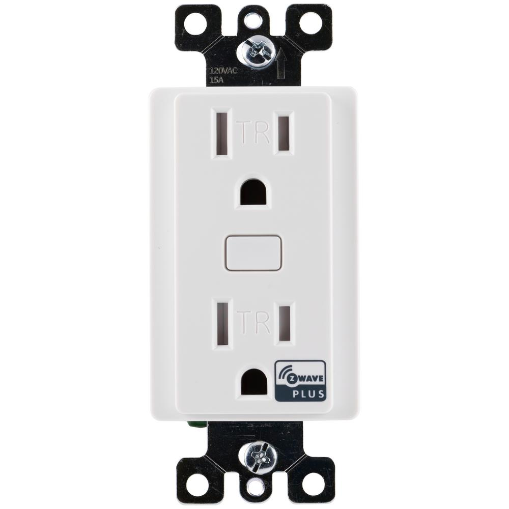 GE Z-Wave Plus Tamper Resistant Indoor In-Wall Receptacle, White