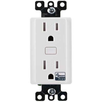 Z-Wave Plus Tamper Resistant Indoor In-Wall Receptacle, White