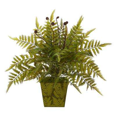 19 in. Fern Artificial Plant in Green Planter
