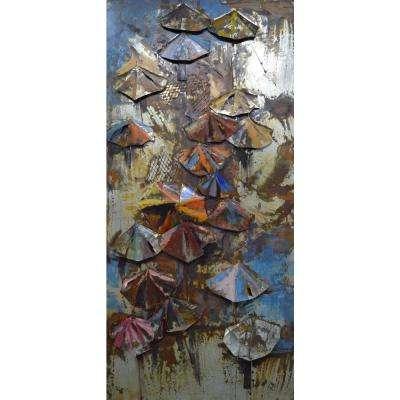 "80 in. x 36 in. ""Umbrellas"" Mixed Media Iron Hand Painted Dimensional Wall Art"