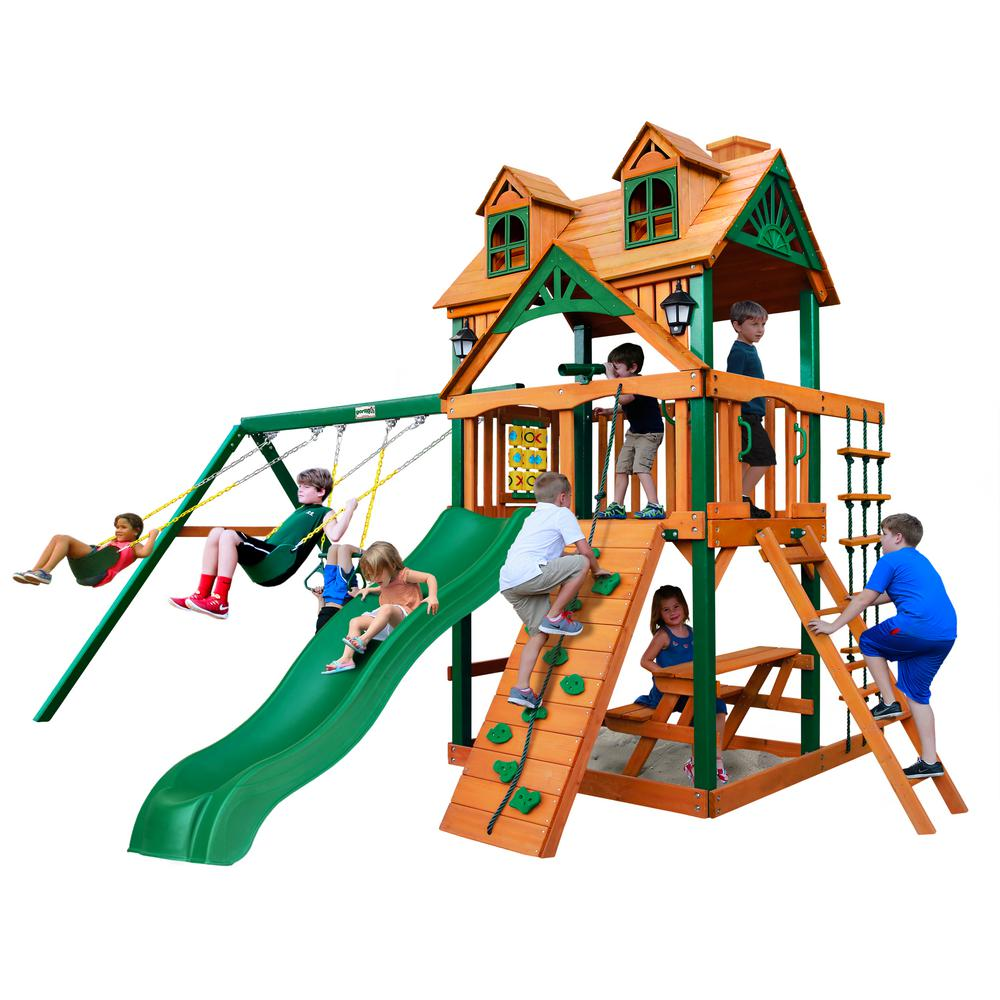Gorilla Playsets Chateau Wooden Swing Set With Slide And Picnic