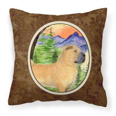 14 in. x 14 in. Multi-Color Lumbar Outdoor Throw Pillow Shar Pei Decorative Canvas Fabric Pillow