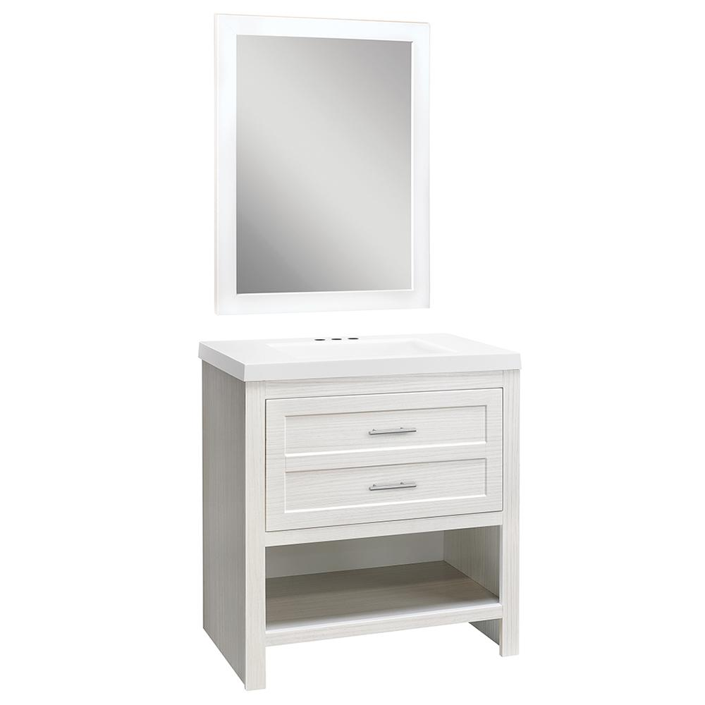 Glacier Bay Spa Drawer 30.5 in. W Vanity in Stone Washed with Cultured Marble Vanity Top in White with White Basin and Mirror