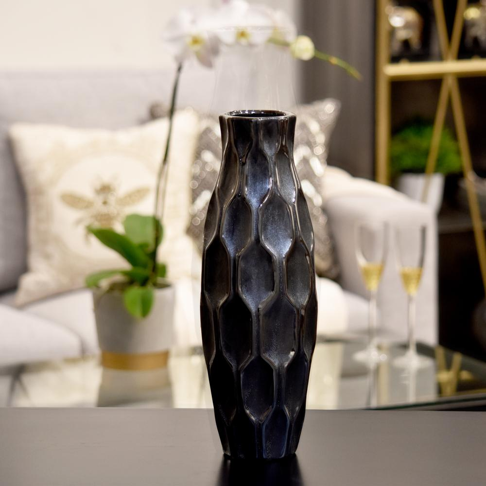 Silver Metallic Finish Ceramic Decorative Vase