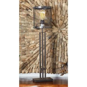 32 inch Bronze Iron Table Lamp with Cylindrical Wire Mesh Bulb Holder