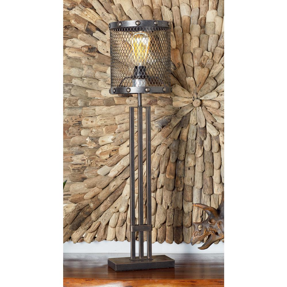 null 32 in. Bronze Iron Table Lamp with Cylindrical Wire Mesh Bulb Holder