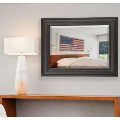 23 in. x 35 in. Brazilian Walnut Rounded Beveled Wall Mirror