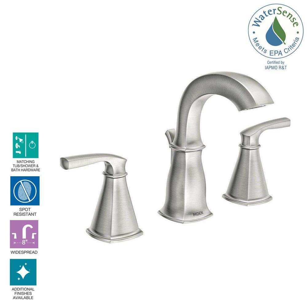 Moen 8 Inch Widespread 2 Handle Bathroom Sink Faucet Spot Resist Brushed Nickel 26508263792 Ebay